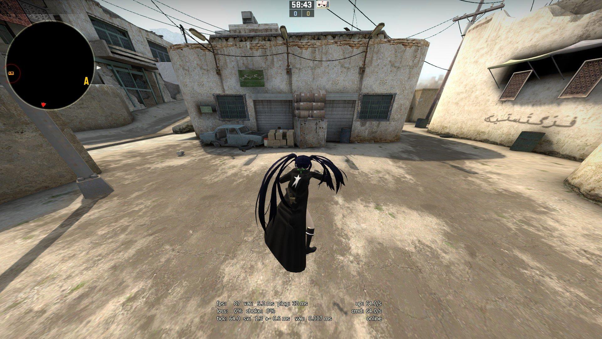 Скачать аниме скин Black Rock Shooter (BRS) для CS:GO (Модель девушки на игрока)